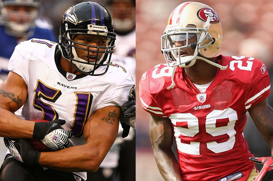 "Brendon Ayanbadejo of the Baltimore Ravens, left, thinks gay people should be treated equally. Chris Culliver of the San Francisco 49ers, right, thinks gay people need to ""get up out of here."""
