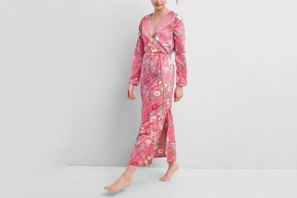 GAP Dreamwell Floral Print Robe In Satin