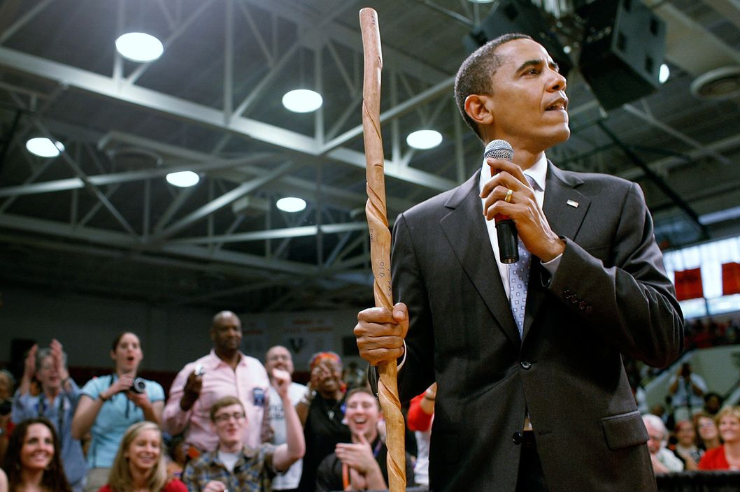 Democratic presidential hopeful Sen. Barack Obama (D-IL) holds a hand-made walking stick he was given during a town hall meeting at Virginia High School June 5, 2008 in Bristol, Virginia.