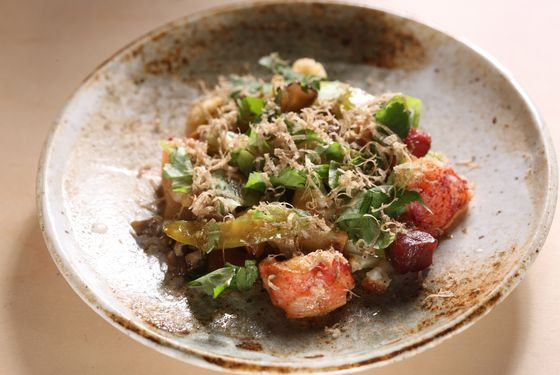Lobster with smoked bacon, celery, and truffle.