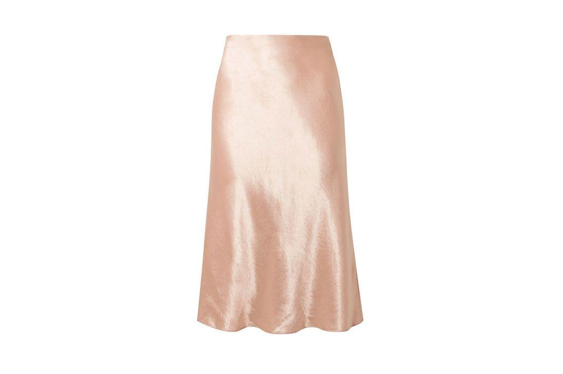 VINCE Hammered-satin midi skirt