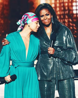 Alicia Keys and Michelle Obama.