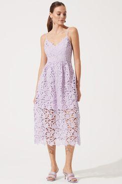 ASTR Lace A-Line Midi Dress