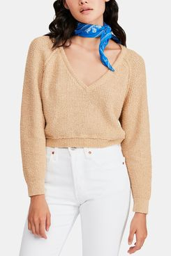Free People High Low V-Neck Sweater