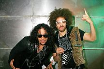 NEW YORK, NY - APRIL 28:  (L to R)  SkyBlu (Skyler Gordy) and Redfoo (Stefan Kendal Gordy) of LMFAO tape an episode of Top Twenty Countdown at fuse Studios on April 28, 2011 in New York City.  (Photo by Andy Kropa/Getty Images) *** Local Caption *** Skyler Gordy;Stefan Kendal Gordy;