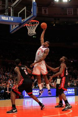NEW YORK, NY - JANUARY 27:  Amar'e Stoudemire #1 of the New York Knicks lays the ball up against the Miami Heat at Madison Square Garden on January 27, 2011 in New York City. NOTE TO USER: User expressly acknowledges and agrees that, by downloading and/or using this Photograph, User is consenting to the terms and conditions of the Getty Images License Agreement. The Knicks defeated the Heat 93-88.  (Photo by Chris Trotman/Getty Images)