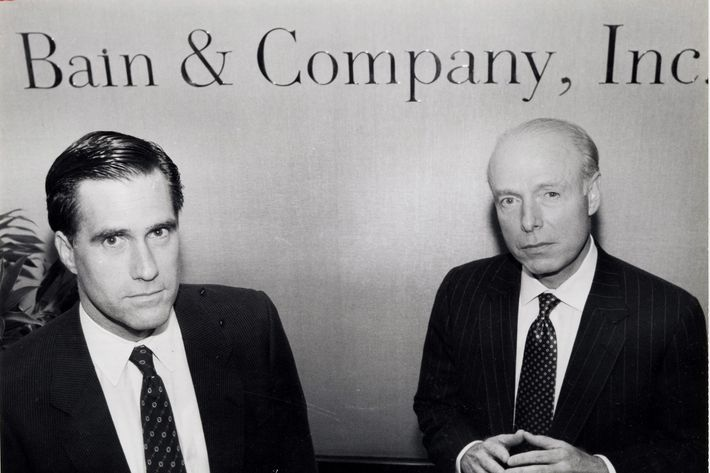William Bain Jr. (right) and Mitt Romney, at Bain's offices in Copley Plaza.