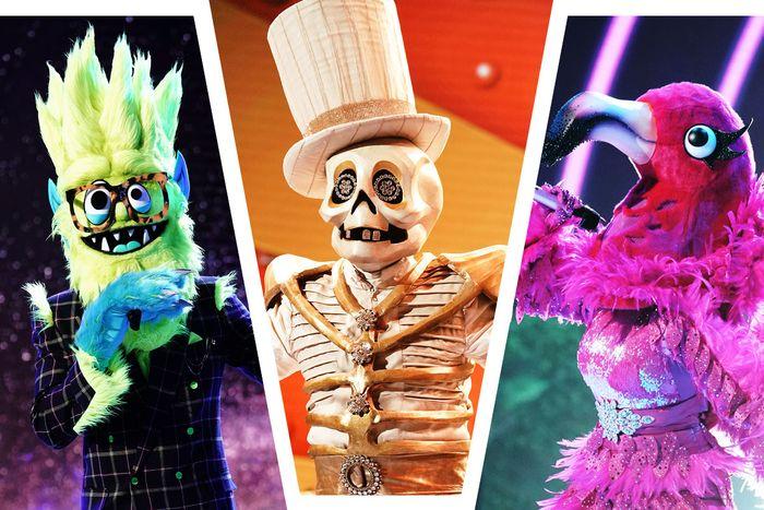 Thingamajig, Skeleton, and Flamingo on The Masked Singer.