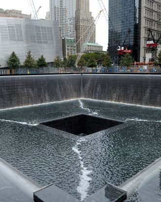 A view of the World Trade Center North Tower memorial pool at the National September 11 Memorial and Museum September 6, 2011 in New York City.