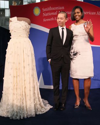 Michelle Obama with award finalist Jason Wu.