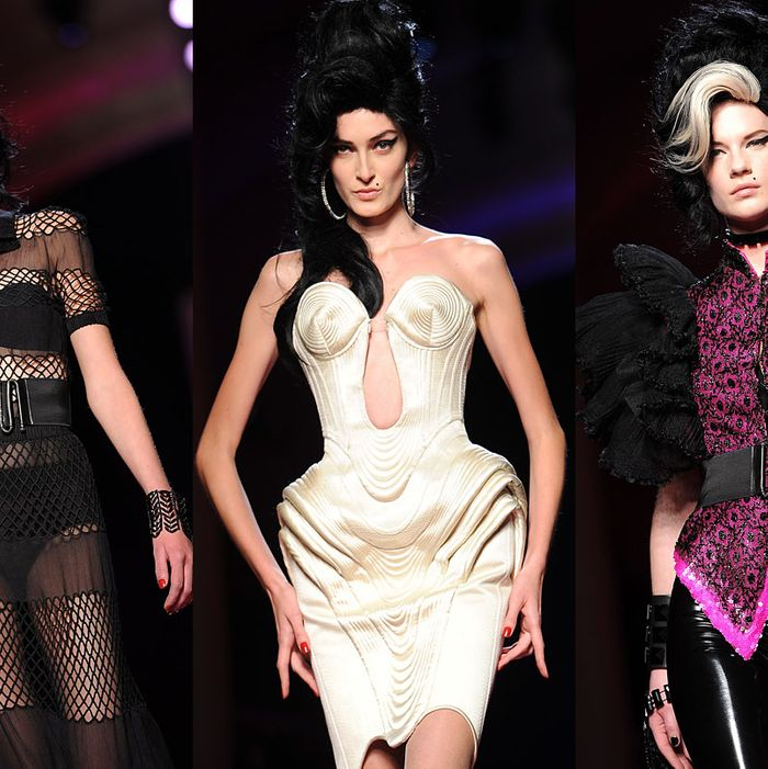 Looks from Jean Paul Gaultier's Winehouse-inspired couture show.
