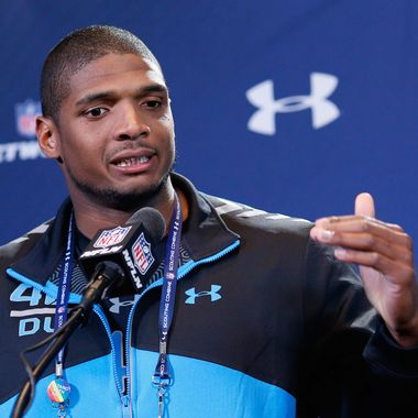 INDIANAPOLIS, IN - FEBRUARY 22: Former Missouri defensive lineman Michael Sam speaks to the media during the 2014 NFL Combine at Lucas Oil Stadium on February 22, 2014 in Indianapolis, Indiana. (Photo by Joe Robbins/Getty Images)