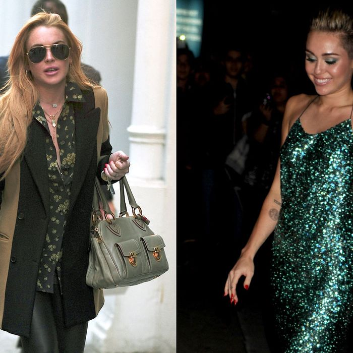 Lindsay Lohan and Miley Cyrus.
