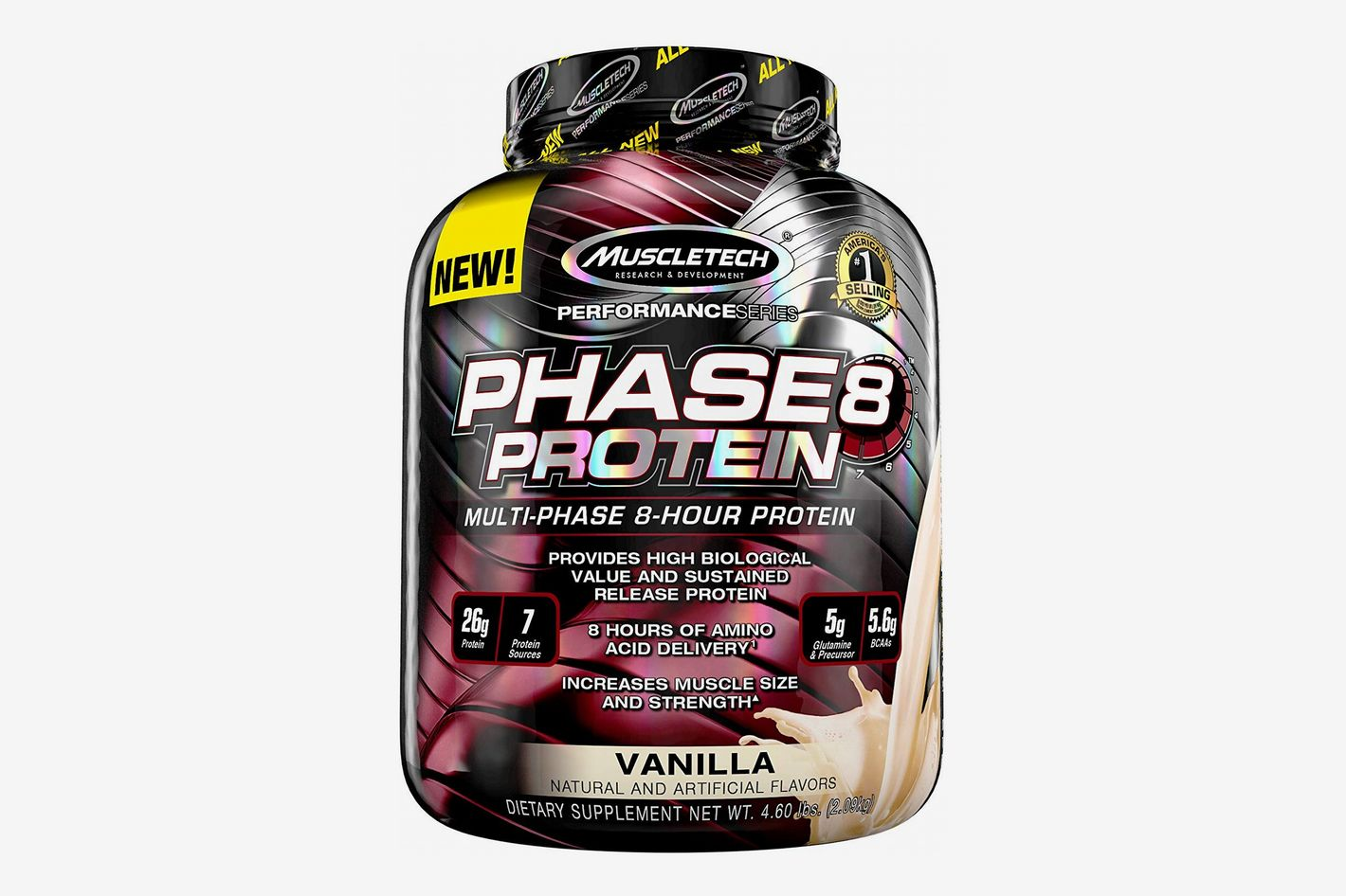 MuscleTech Phase8 Protein Powder, Sustained Release 8-Hour Protein Shake, Vanilla