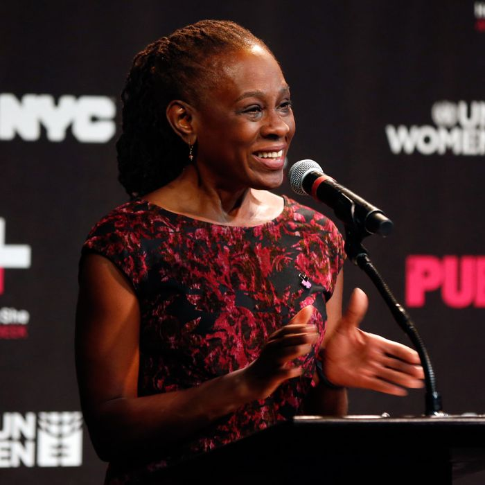 Chirlane McCray speaking about HeForShe Arts Week at the Public Theater.
