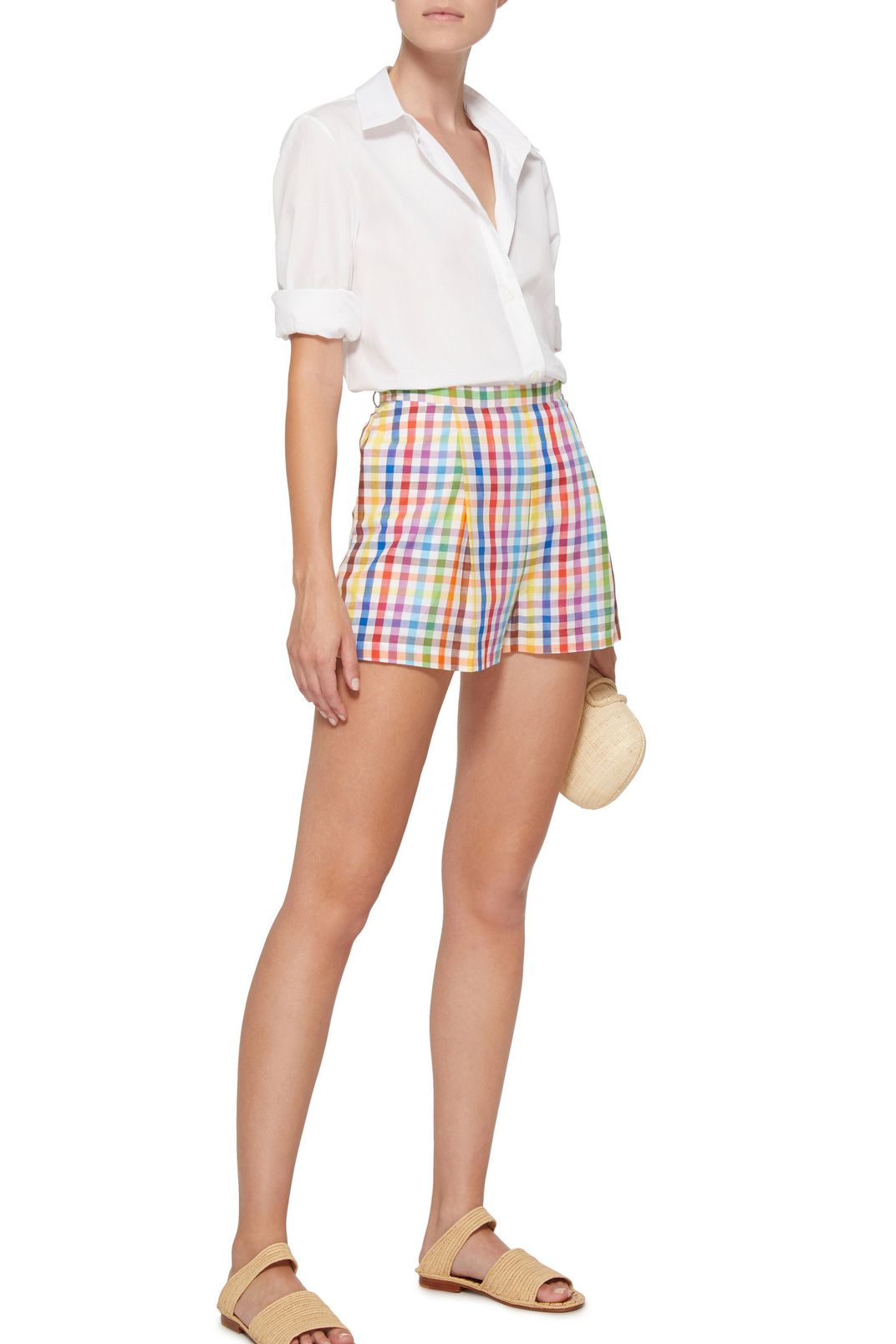MDS Stripes Picnic Pleated Cotton Shorts
