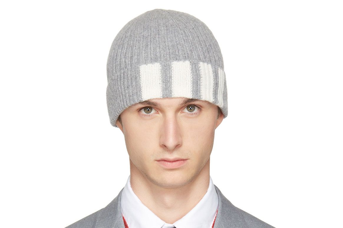 Thom Browne Gray Cashmere Four Bar Beanie
