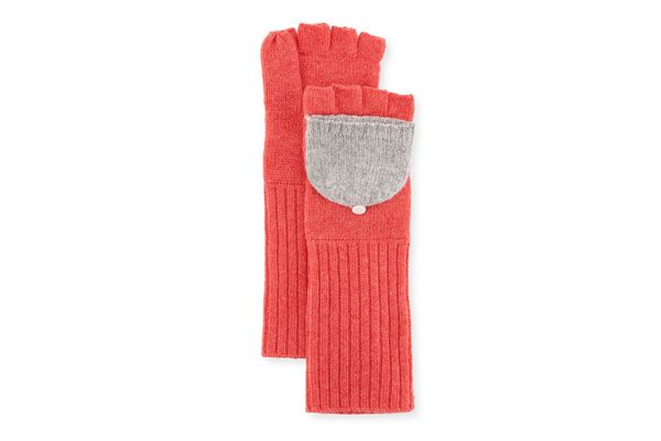 Neiman Marcus Cashmere Pop-Top Two-Tone Gloves