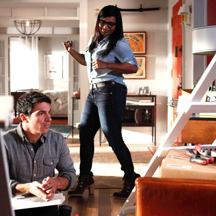 THE MINDY PROJECT: Danny (Chris Messina, L) helps Mindy (Mindy Kaling, R) assemble bunk beds in the