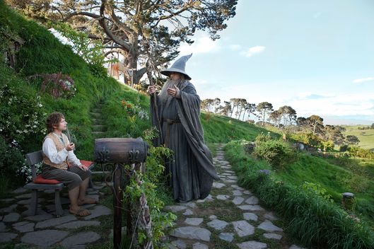"(L-r) MARTIN FREEMAN as Bilbo Baggins and IAN McKELLEN as Gandalf in New Line Cinema's and MGM's fantasy adventure ""THE HOBBIT: AN UNEXPECTED JOURNEY,"" a Warner Bros. Pictures release."