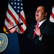 SIMI VALLEY, CA - SEPTEMBER 27: New Jersey Governor Chris Christie delivers remarks during the Perspectives on Leadership Forum at the Reagan Library on September 27, 2011 in Simi Valley, California. Influential Republicans are urging Christie to run for president and are prepared to raise money. Christie is on a Republican Party fund-raising tour with stops in Missouri and California including a speech at the Ronald Reagan Presidential Library and Museum. (Photo by Kevork Djansezian/Getty Images)