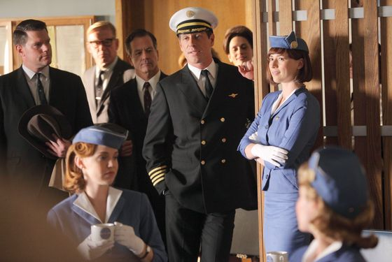 "PAN AM - ""Diplomatic Relations"" - Dean is tapped to fly the first-ever commercial flight to Moscow, but the day of departure, a blowhard veteran pilot, Broyles, takes the controls and makes Dean co-pilot. While in Russia, Kate tries to pull off an important mission, but when Laura and another Pan Am stewardess are mistaken for spies, Kate tries to expedite their release with the help of an unlikely ally. Back at home, Congressman Rawlings and his staff work to track down whoever anonymously wrote the negative new story about him, and Maggie agrees to be his date at a fund-raiser. Can she keep her temper dealing with so many conservative political supporters and retain her cover as the article's author? Ted's relationship with Amanda gets serious, but Maggie learns something about her that may hinder this whirlwind romance., on ""Pan Am,"" SUNDAY, JANUARY 15 (10:01-11:00 p.m., ET), on the ABC Television Network. (ABC/ERIC LIEBOWITZ) KELLI GARNER, DARREN PETTIE, KARINE VANASSE"