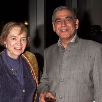 Film Critic Judith Crist and Director Ismail Merchant at the Festival of India Diaspora in New York City on November 1, 2001.