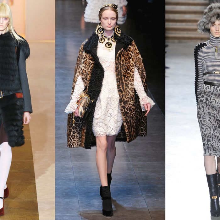 From left: looks from Marni, Dolce & Gabbana, and Missoni