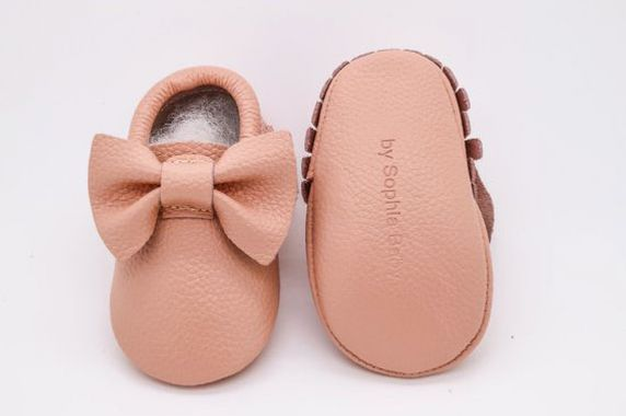 Baby Blush Pink Bow Moccasins