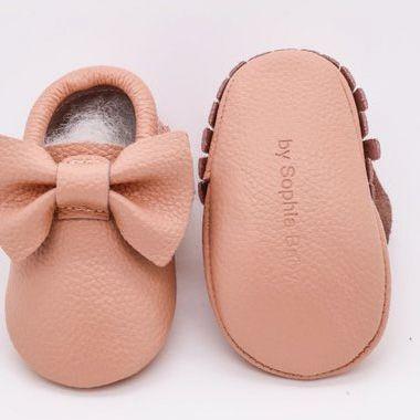 Baby Blush Pink Bow Moccasins