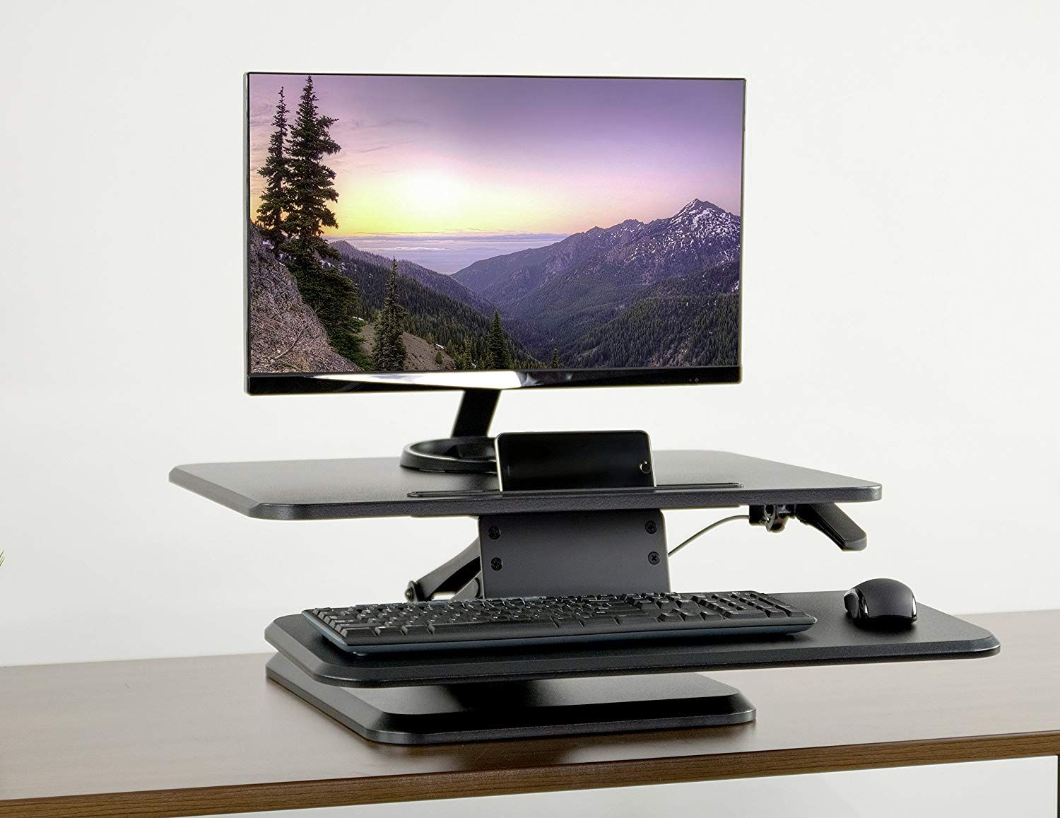 Vivo Black Small Height Adjule Standing Desk Monitor Riser At