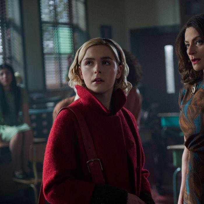 Kiernan Shipka as Sabrina, Michelle Gomez as Miss Wardwell.