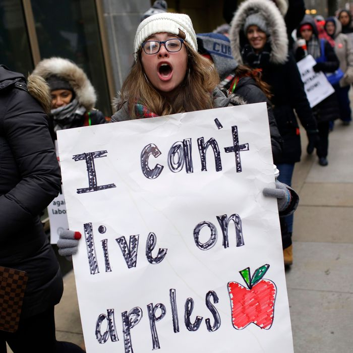 Educators from the Acero charter school network hold signs as they protest during a strike outside Chicago Public Schools headquarters on December 5, 2018 in Chicago, Illinois.