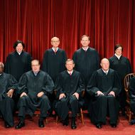 The Justices of the US Supreme Court sit for their official photograph on October 8, 2010 at the Supreme Court in Washington, DC.