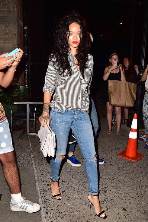 Rihanna is seen in Soho  on July 31, 2014 in New York City.