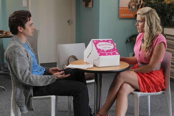 "COUGAR TOWN - ""Money Becomes King"" - Jules and Grayson can't see eye to eye when it comes to joining their finances, but they're both going to have to make some sacrifices if they actually want to get married -- and that is not going to be easy. Meanwhile, Laurie's Krazy Kakes business is doing surprisingly well, and Travis convinces her to make some grown up decisions of her own, on ""Cougar Town,"" TUESDAY, APRIL 24 (8:31-9:00 p.m., ET) on the ABC Television Network. (ABC/KAREN NEAL) DAN BYRD, BUSY PHILIPPS"