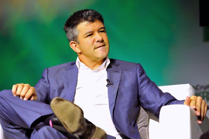 Uber CEO Travis Kalanick speaks onstage at TechCrunch Discrupt at Pier 48 on September 8, 2014 in San Francisco, California.