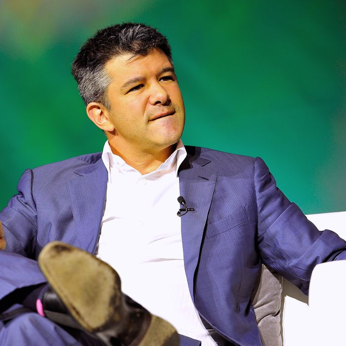 Uber CEO Travis Kalanick speaks onstage at TechCrunch Discrupt at Pier 48 on September 8, 2014 in San Francisco, California.