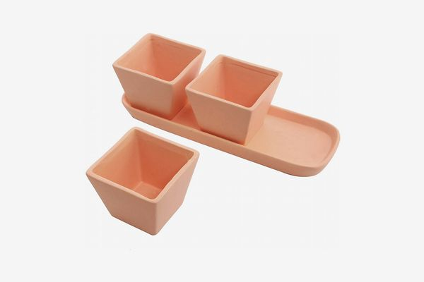 MyGift Small Square Terracotta Clay Garden Planter Pots with Oval Drainage Tray