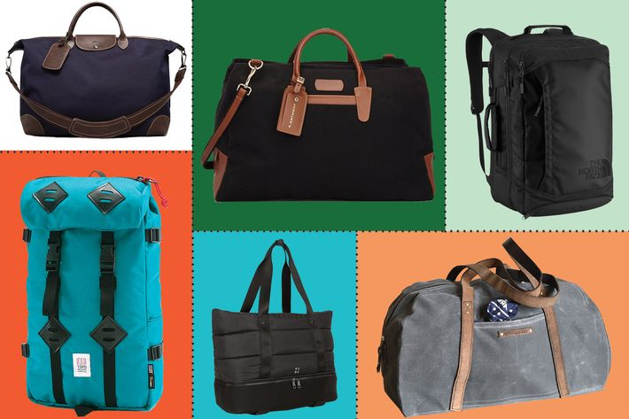 collage of t anthony weekender duffle, peg & awl journey bag, longchamp boxford duffle bag, baggu canvas weekender, sweaty betty luxe gym bag, the north face refractor bag, and topo designs mountain backpack- strategist best travel accessories and best weekend travel bags