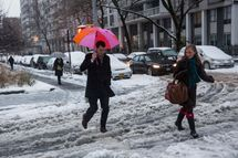 NEW YORK, NY - FEBRUARY 05:  People attempt to walk across a snowy street during a snow storm on February 5, 2014 in the Greenwich Village neighborhood of New York, United States. New York and surrounding regions were hit with yet another snow storm today, bringing snow and ice over night, and sleet and freezing rain during theday.  (Photo by Andrew Burton/Getty Images)