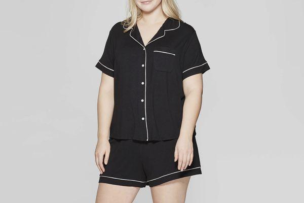 Stars Above Women's Plus-Size Beautifully Soft Notch Collar Pajama Set