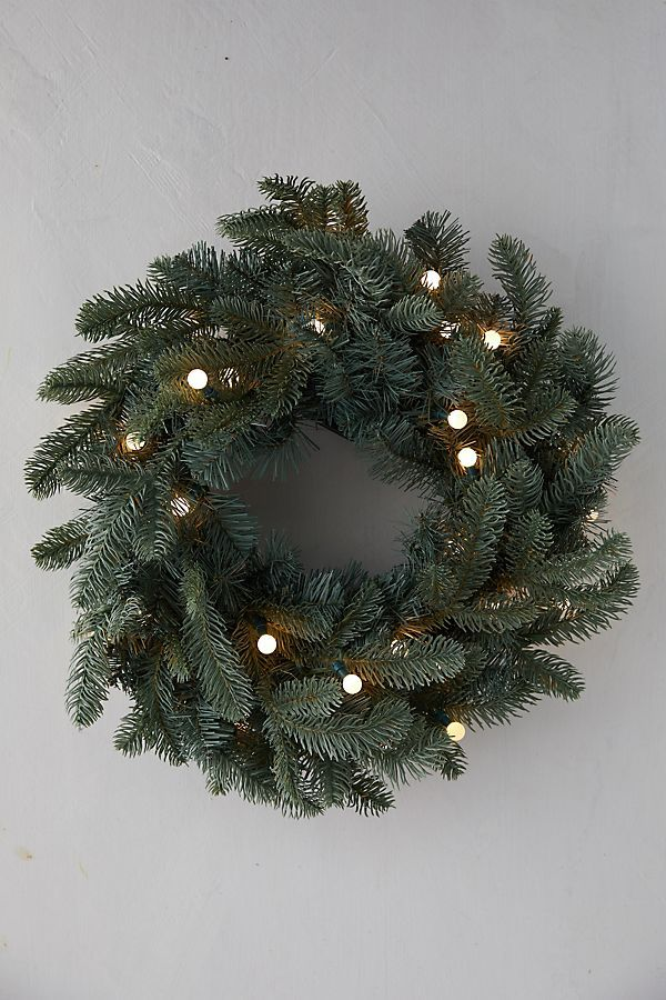 Faux Pre-Lit Bauble LED Evergreen Wreath