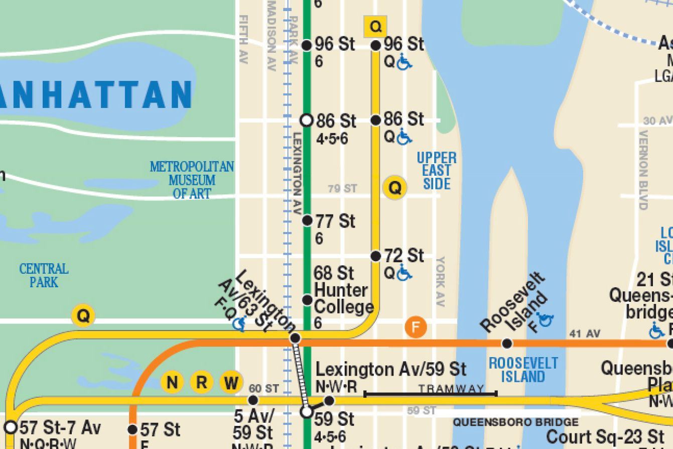 Upper East Side Subway Map