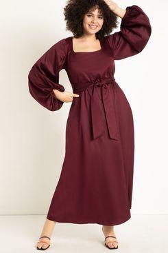 Eloquii Square-Neck Long-Sleeve Maxi Dress