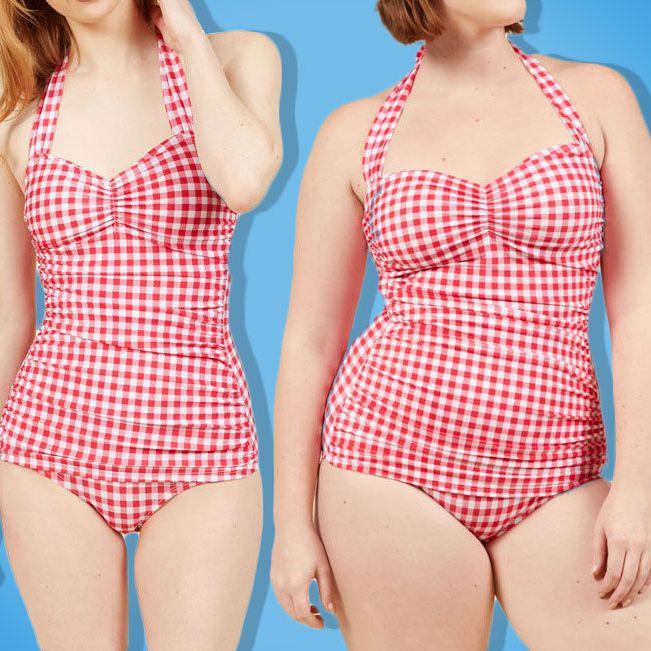 Esther Williams Marilyn 1 Piece Black Polka Dot Halter Skirt Swim-Suit Retro