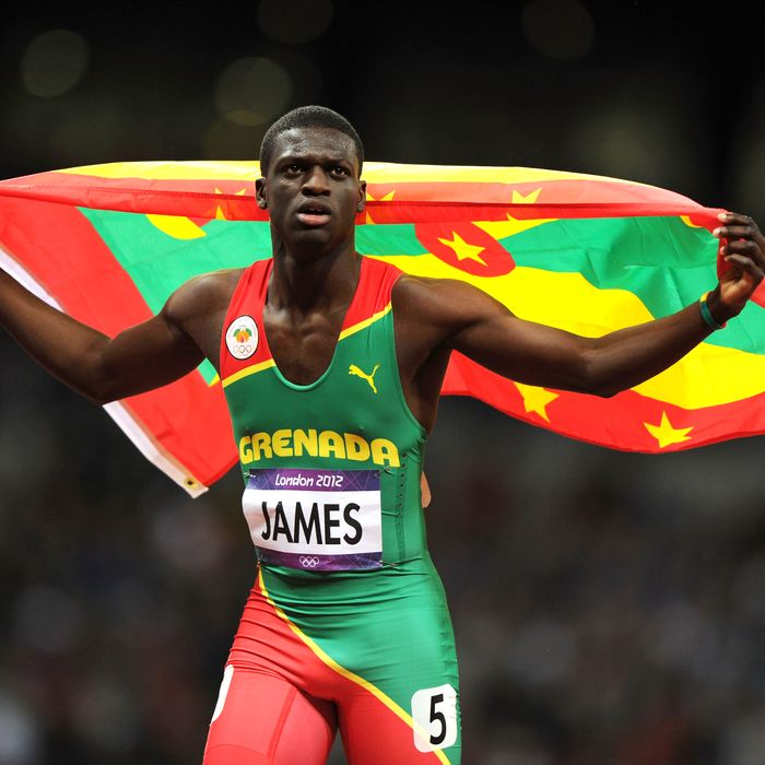 LONDON, ENGLAND - AUGUST 06: Kirani James of Grenada celebrates after winning the gold medal in the Men's 400m final on Day 10 of the London 2012 Olympic Games