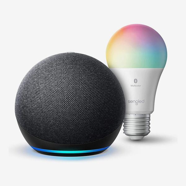 Echo Dot (4th Gen) Smart speaker with Alexa with Sengled Bluetooth Color Bulb