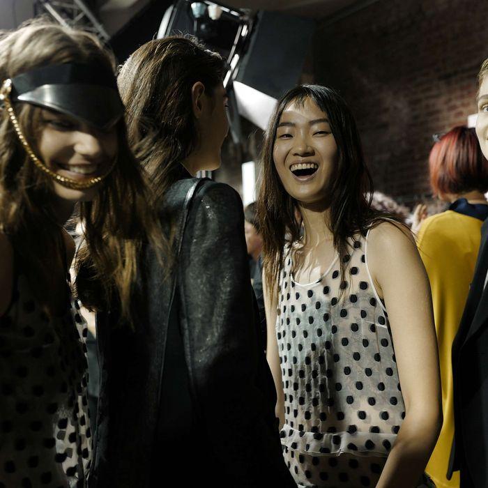 Models at Galliano.