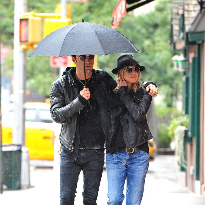 A sartorial match: Jennifer Aniston and Justin Theroux.